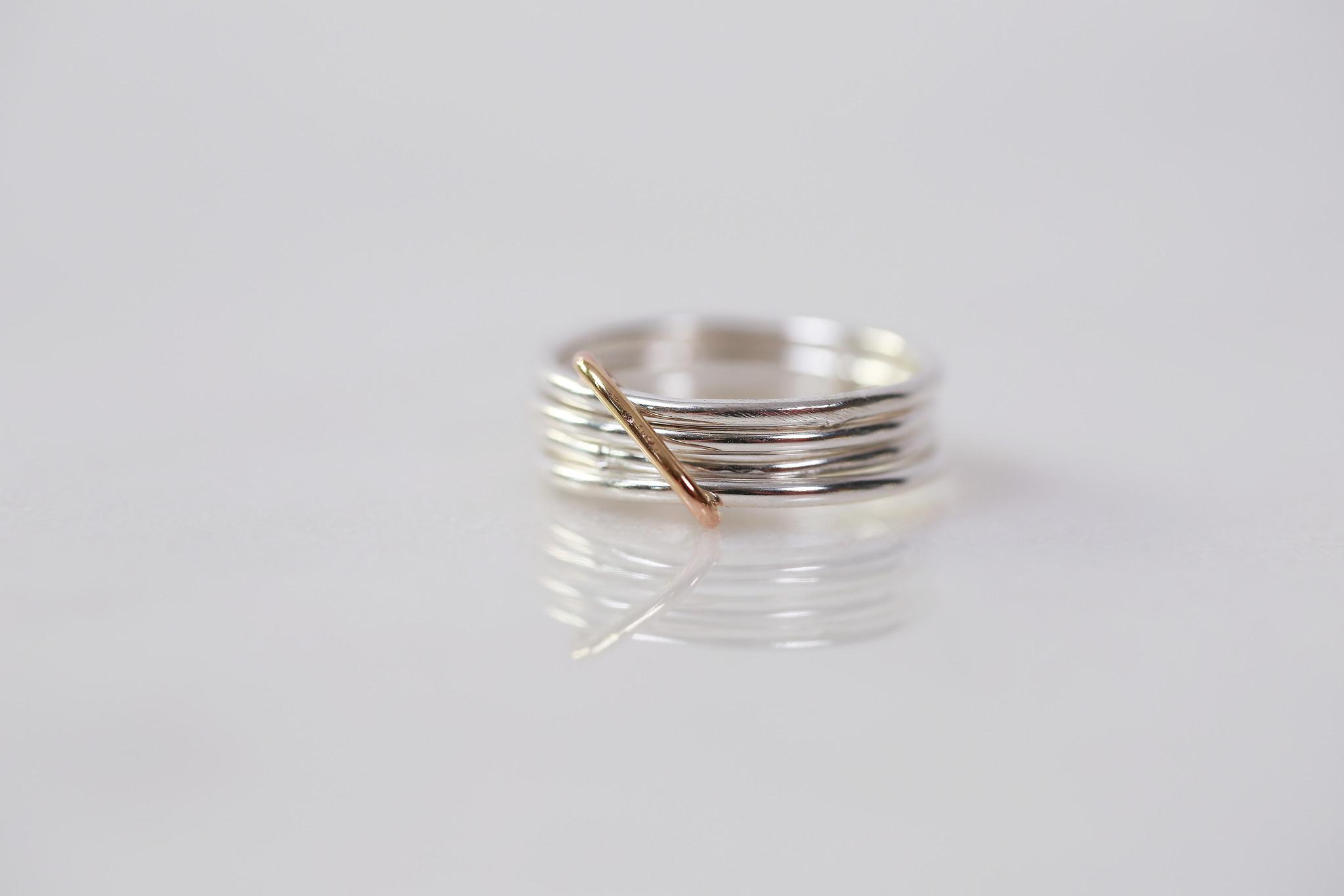 Chertova Fidget Ring, Sterling Silver and 14k Gold Filled