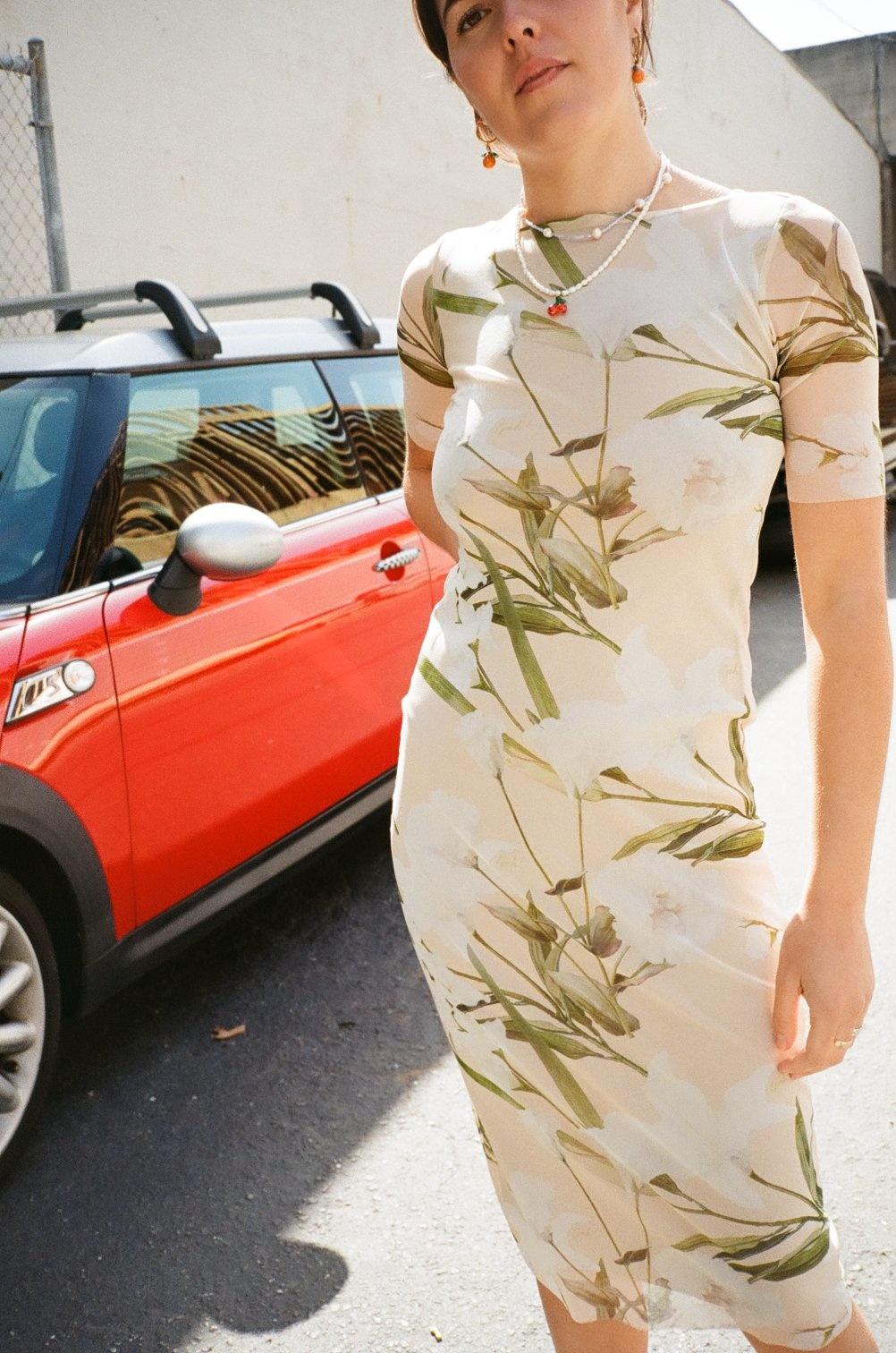 Lisa Says Gah Zelda Midi Dress, Mesh Floral