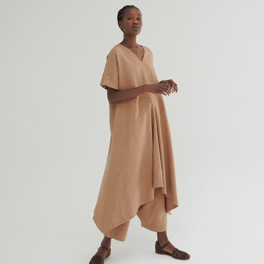 Monica Cordera Clay Pot Asymmetric Ramie Dress ONE SIZE FITS ALL