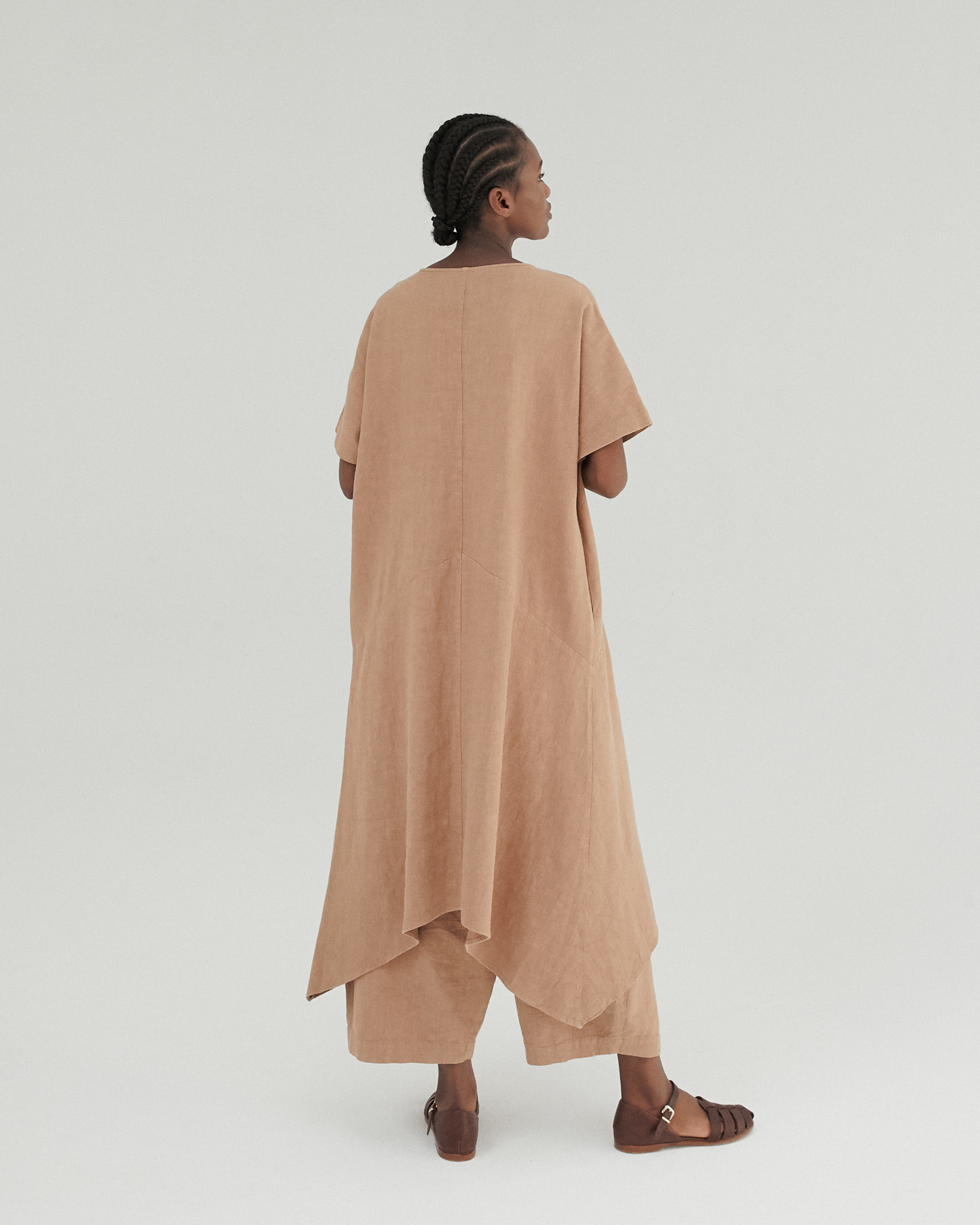 Monica Cordera Clay Pot Asymmetric Ramie Dress ONE SIZE FITS ALL