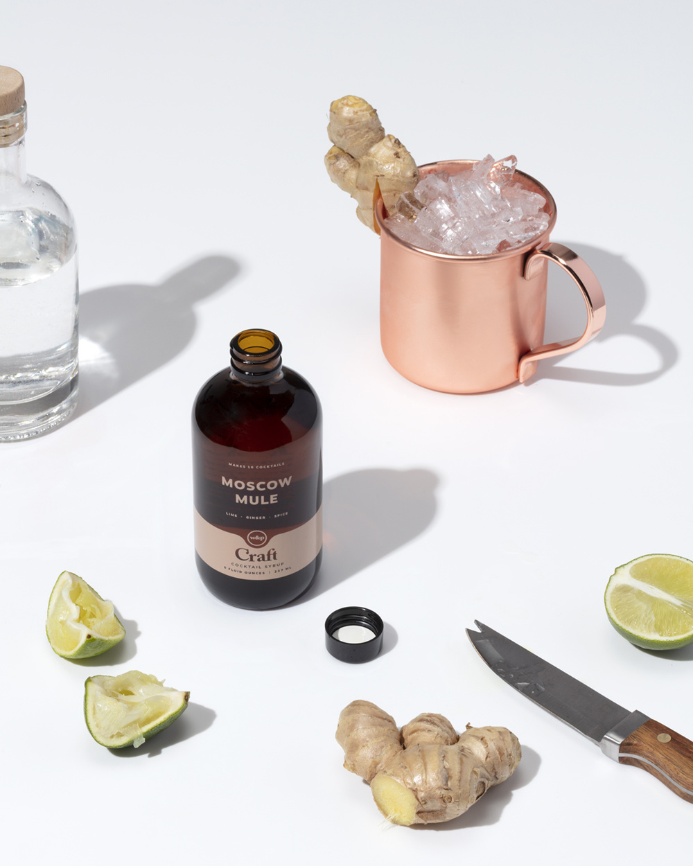 W&P design Cocktail Syrup 3-Pack Set, Spicy Margarita, Old Fashioned and Moscow Mule Mixes