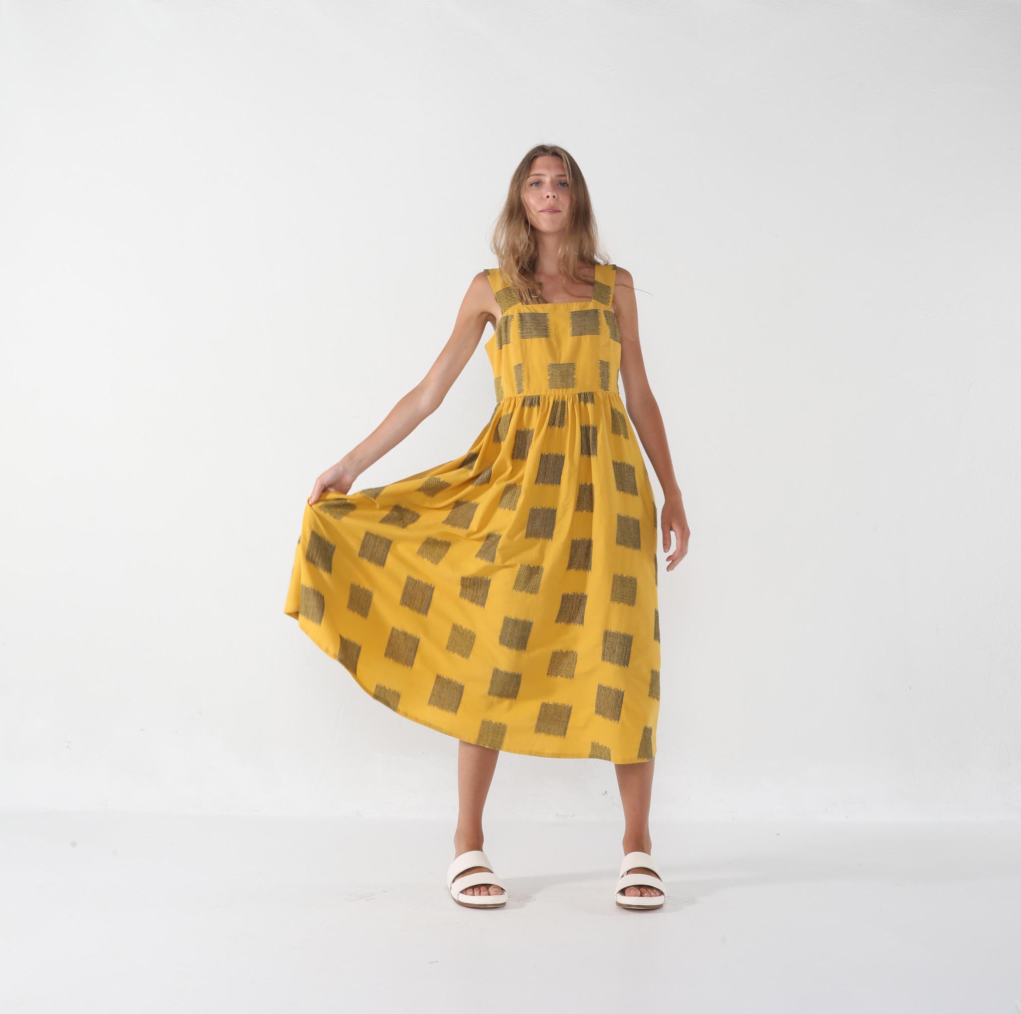 7115 by SZEKI Summer Sundress, Canary Square Print