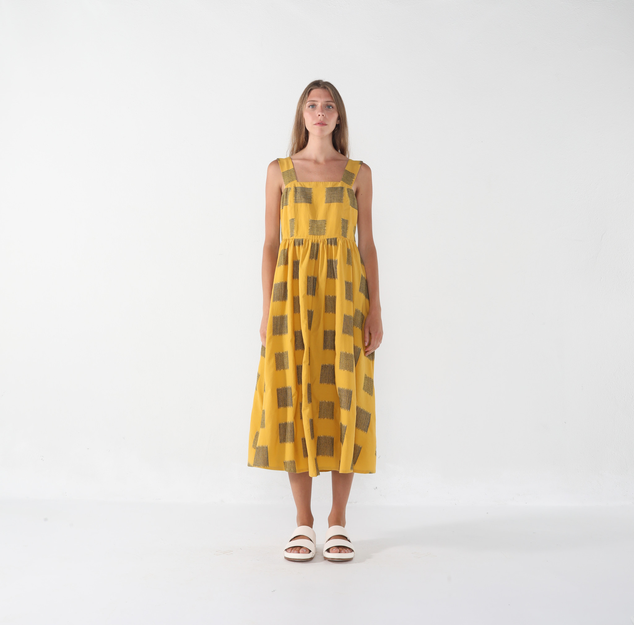 7115 by SZEKI Summer Sundress, Canary Square Print