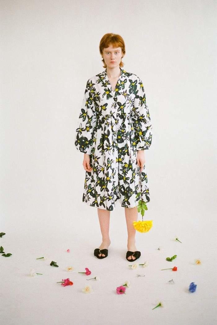 Wray Gathered Shirt Dress in Daisy Poplin