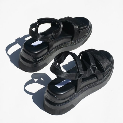 Suzanne Rae Black Velcro Sandals