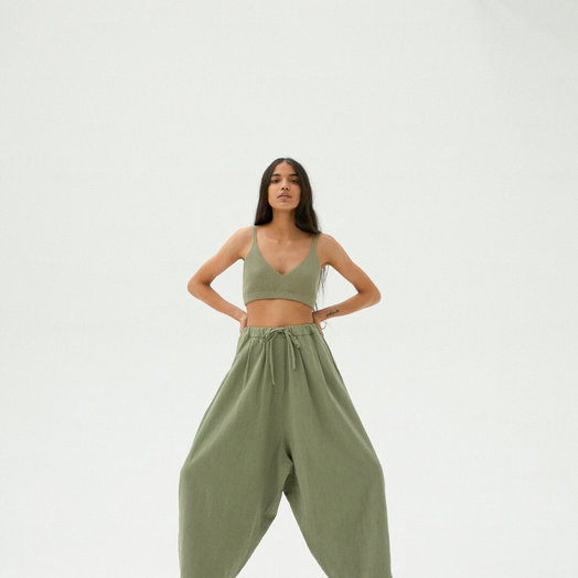 Monica Cordera Maxi Ramie Pants, Sage Green, ONE SIZE FITS ALL