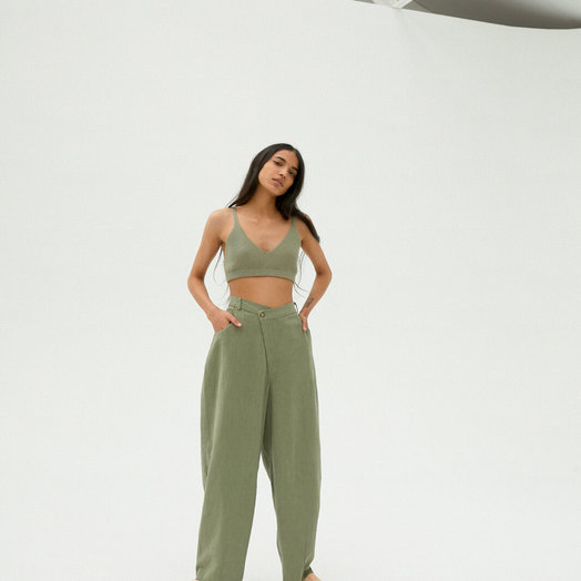 Monica Cordera Crossed Trousers, Sage Green, ONE SIZE FITS ALL