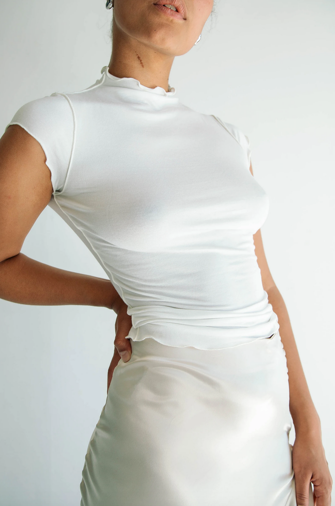 Line by K Reese Mock Top, White