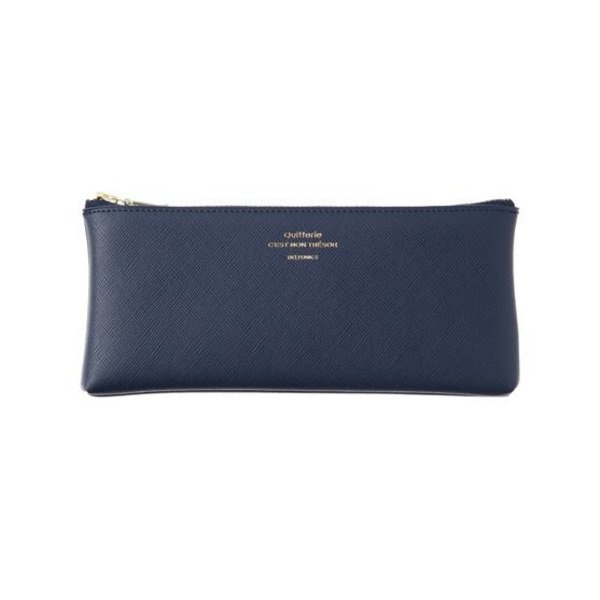 Delfonics Quitterie Flat Pen Case in Dark Blue