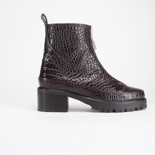 Nicole  Saldana Chris, Brown Embossed Croc Leather Boots