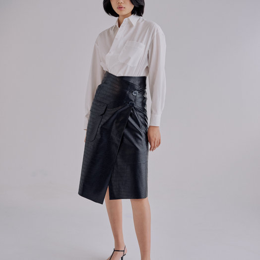 Mijeong Park Croc Embossed Leather Skirt, Black