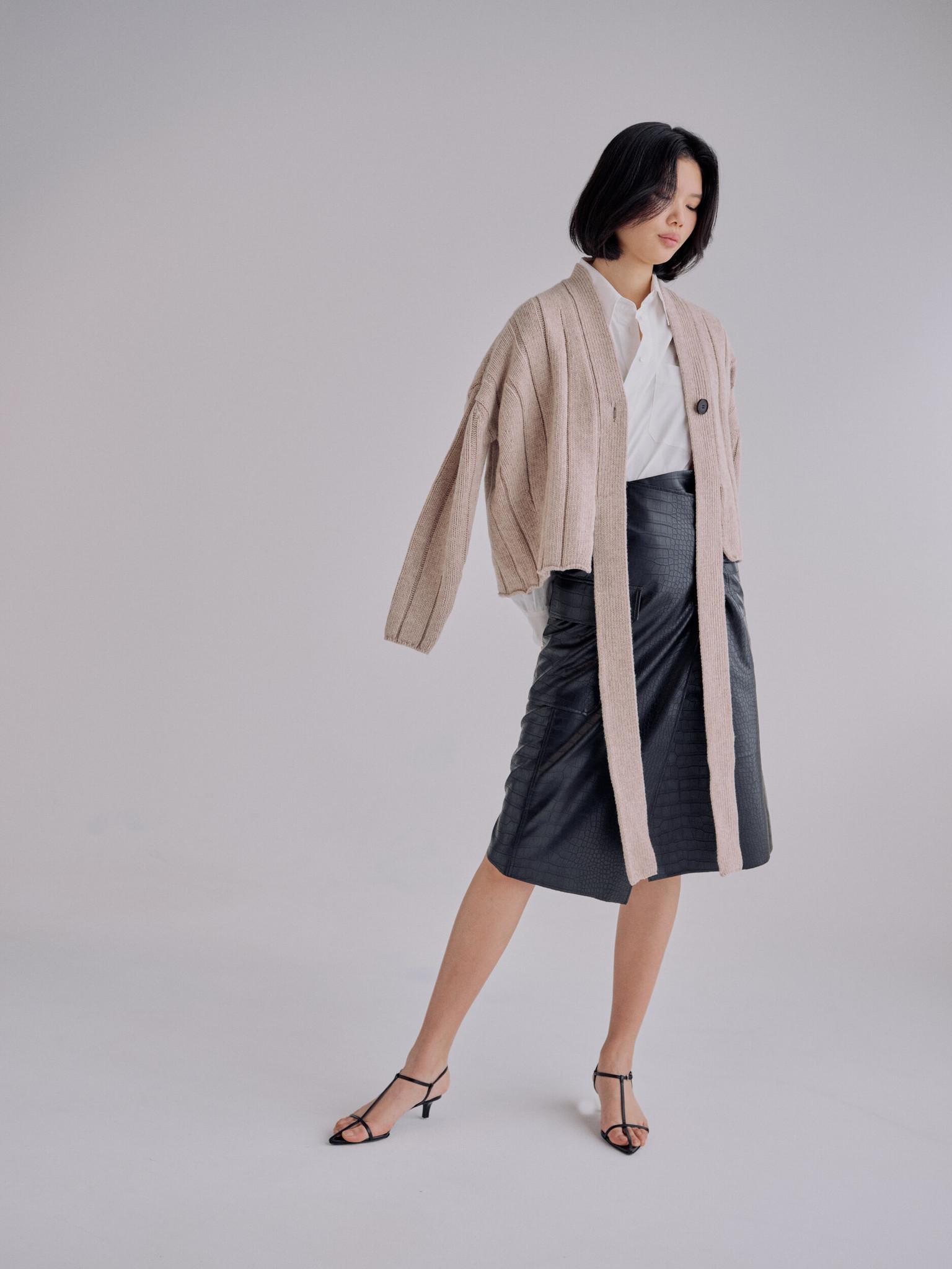 Mijeong Park Croc Embossed Leather Skirt, Black