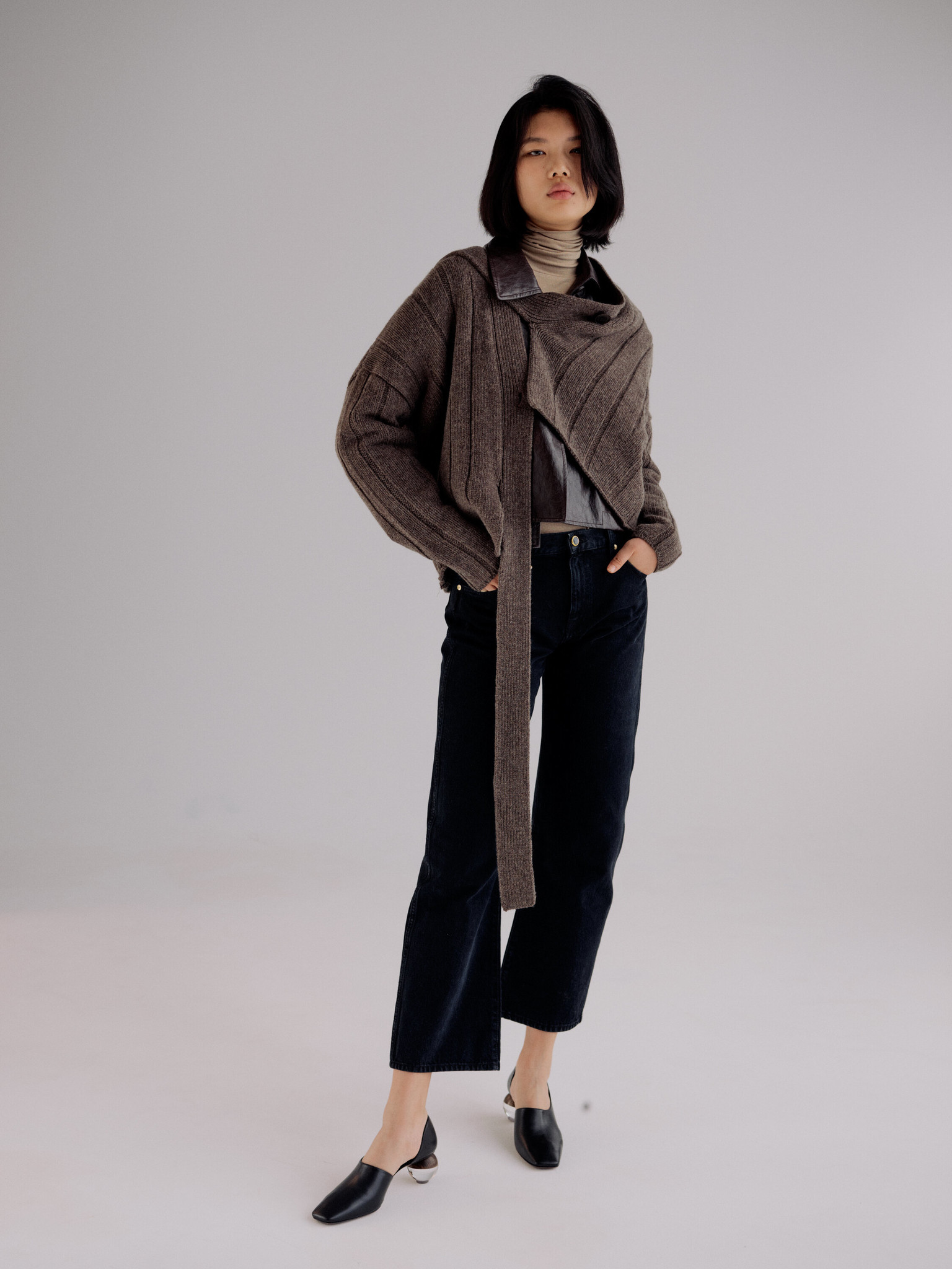Mijeong Park Roll Neck Jersey Top, Taupe