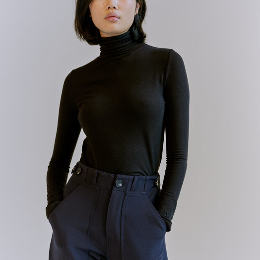 Mijeong Park Roll Neck Jersey Top, Black