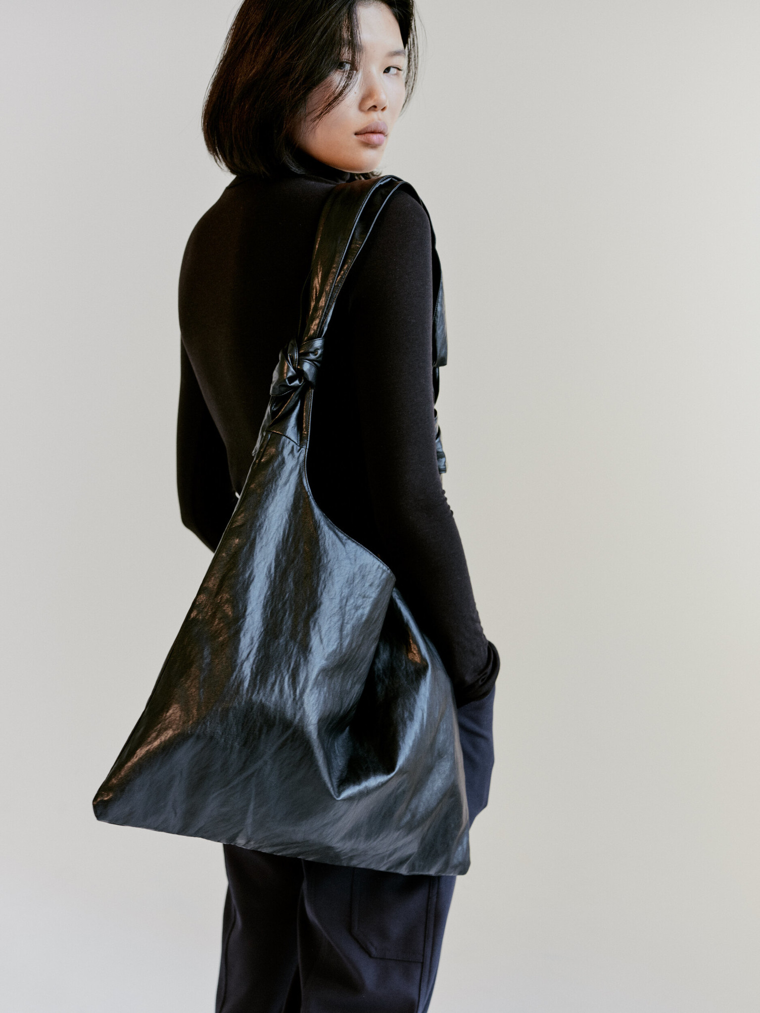 Mijeong Park Roll Neck Jersey Top, Black