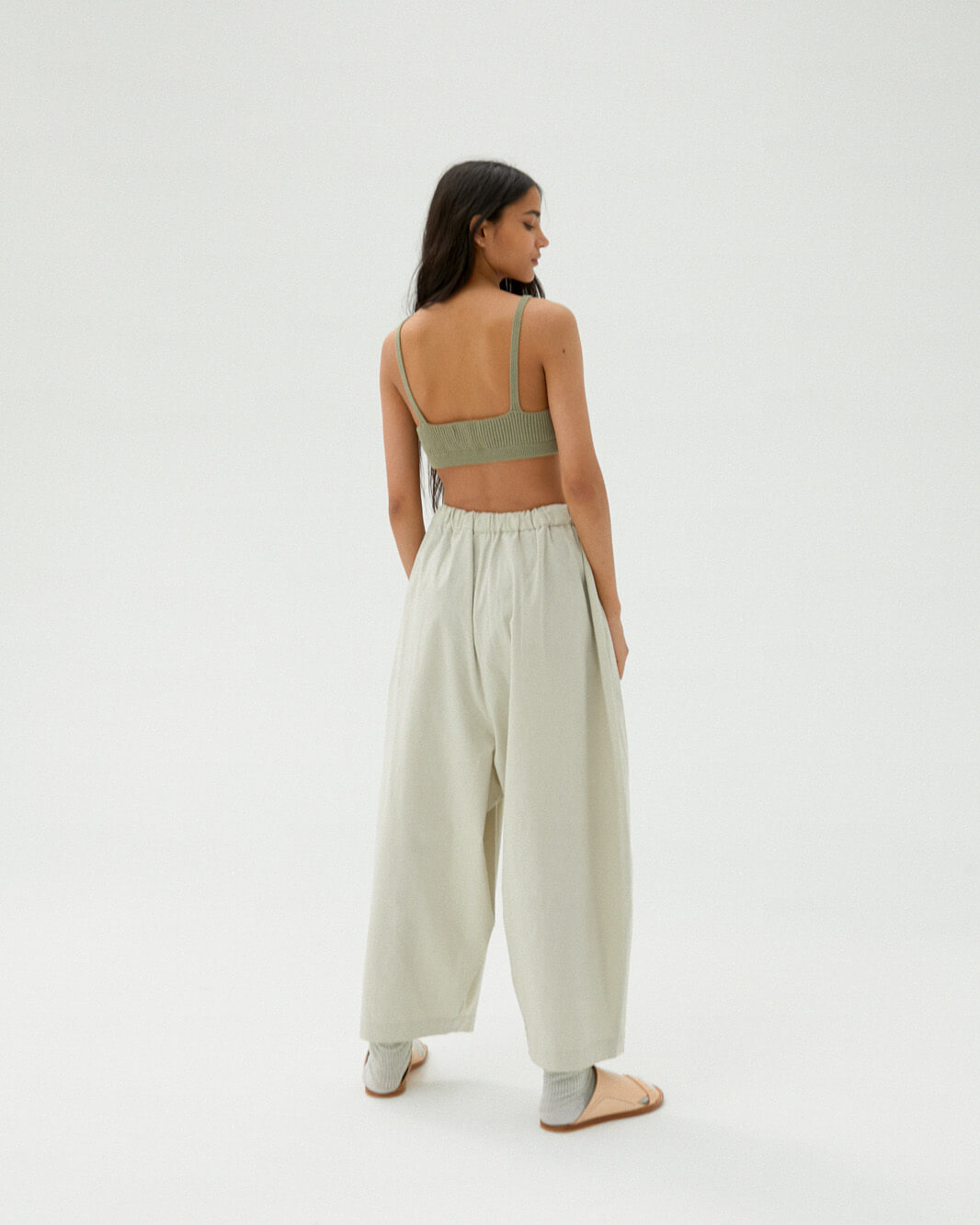 Monica Cordera Maxi Cotton Pants, Pale Grey, ONE SIZE FITS ALL