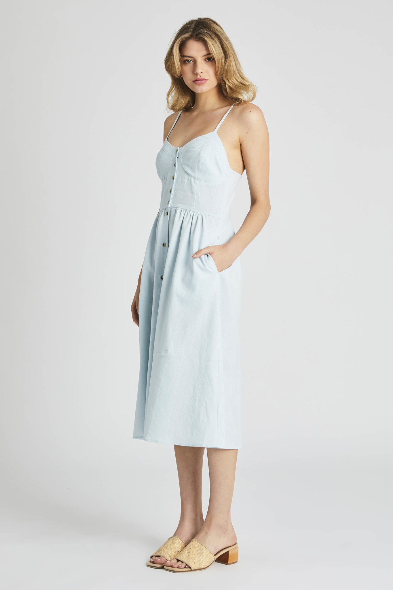 Rollas Eve Linen Dress, Pale Sky