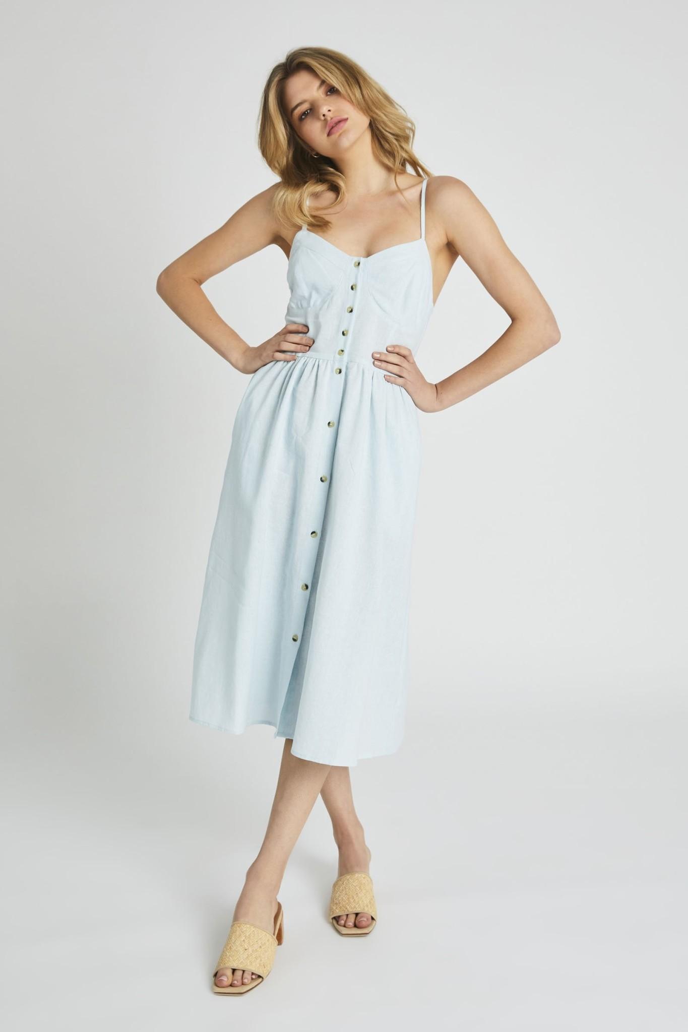 Rollas Eve Linen Dress, Pale Sky