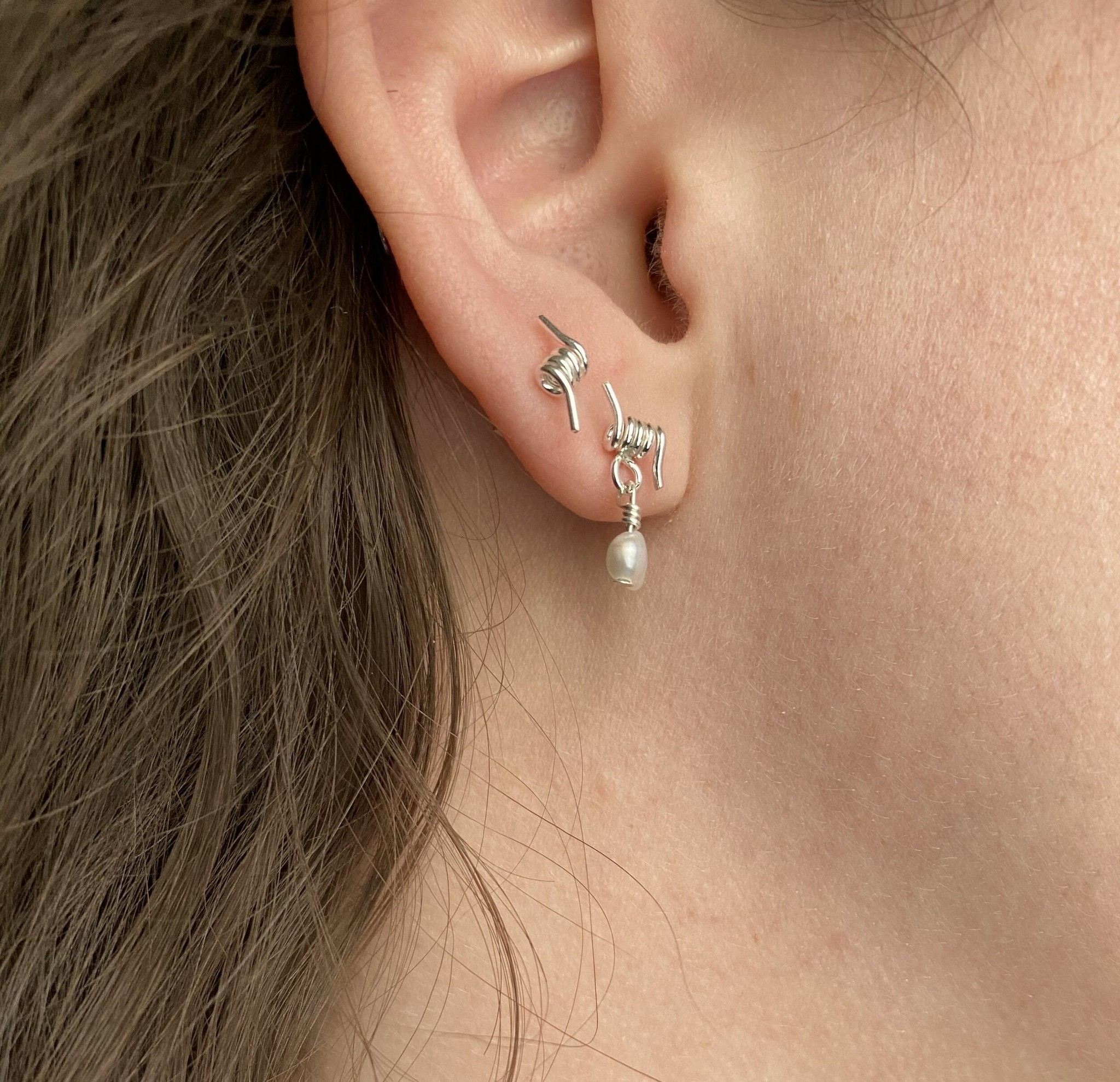 Chertova Barbed Studs in Sterling Silver with Pearl