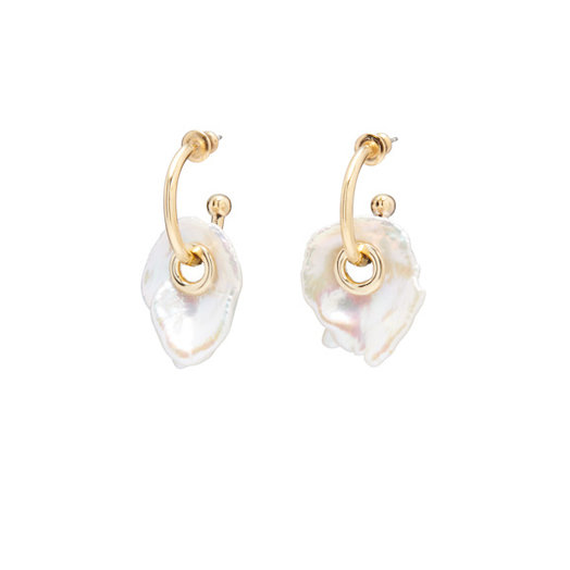 Lady Grey Pearl Eyelet Earring, 14 K Gold Plated with Pearl