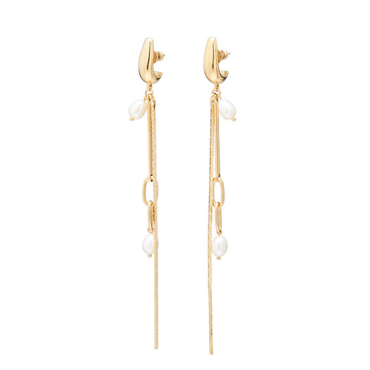 Lady Grey Synth Earring 14K Gold Plated with Pearl