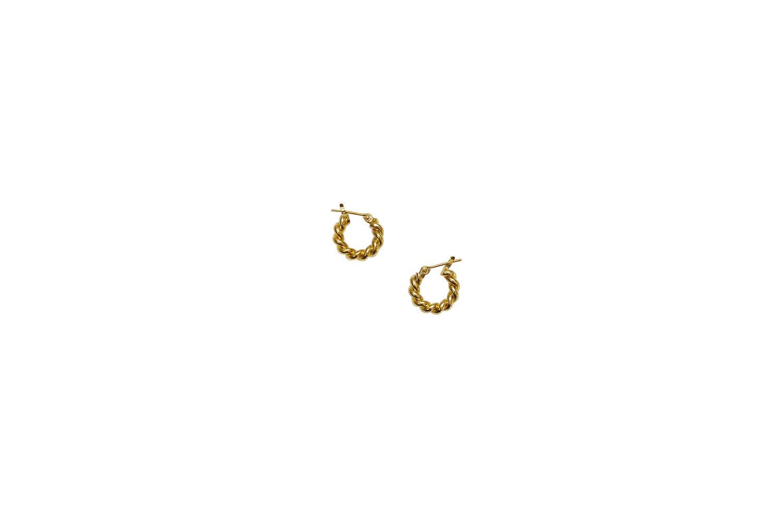 Laura Lombardi Mini Twist Hoops in 14K Gold