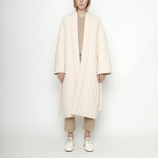 7115 by SZEKI Quilted Long Coat, Cream