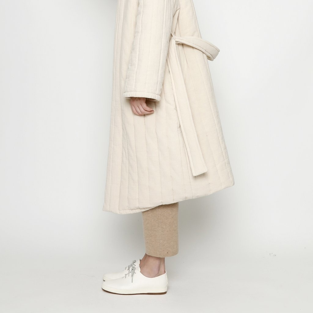 7115 by SZEKI Quilted Long Coat, Cream