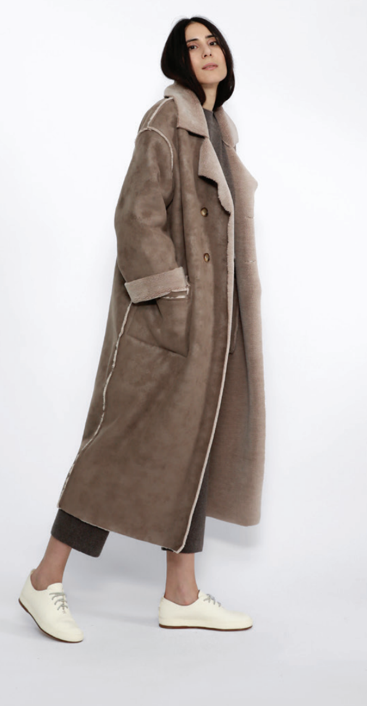 7115 by SZEKI Faux Suede Long Coat, Umber