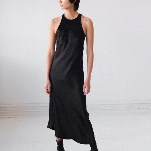 Nomia Crinkle Satin Black Dress