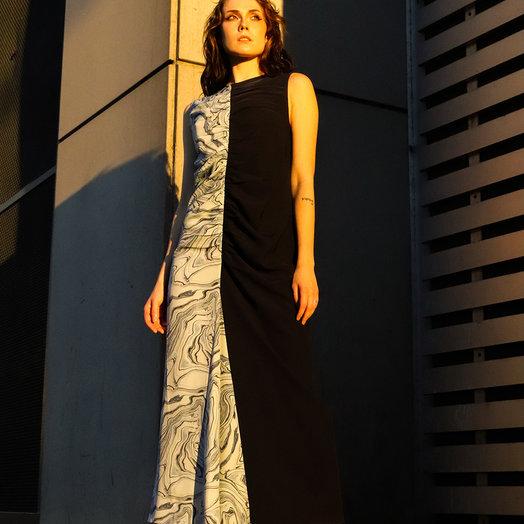 Nomia Marble Print/ Navy Dress