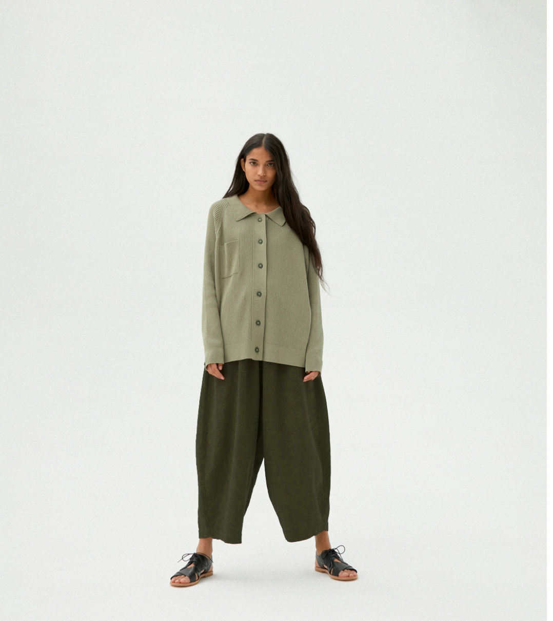 Monica Cordera Ramie maxi Pants in Hunter Green ONE SIZE FITS ALL