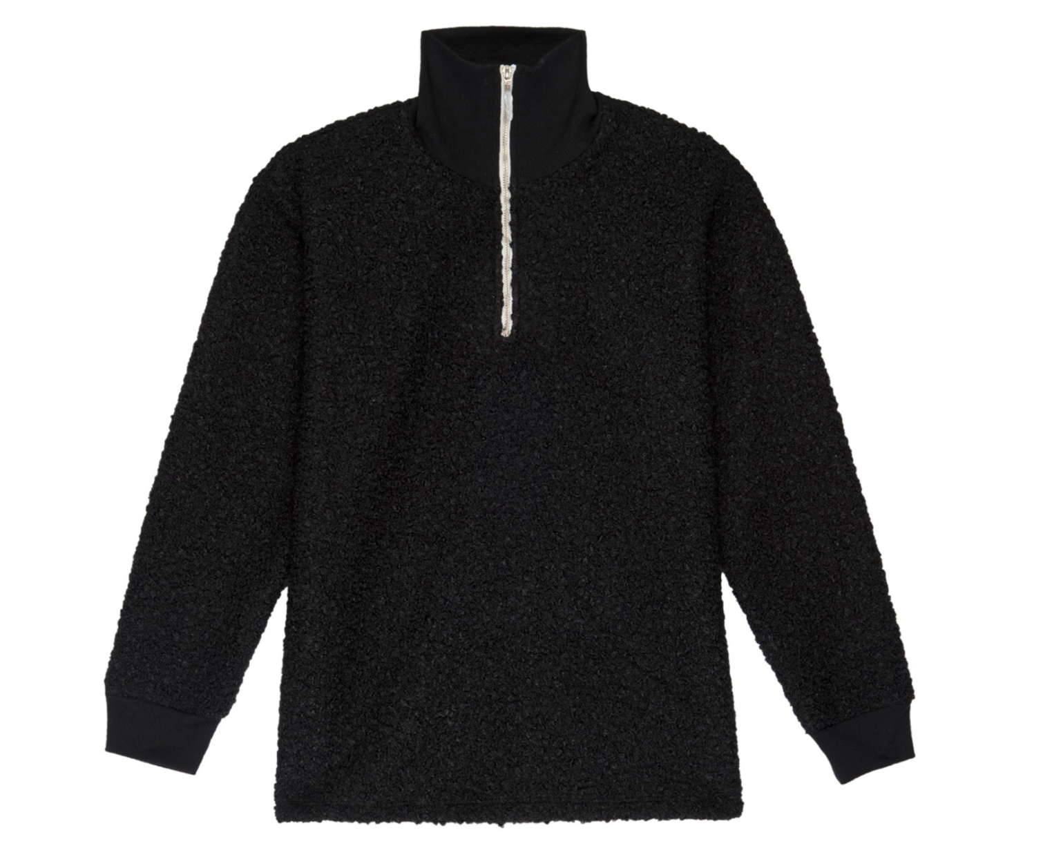 Donni Curly 1/2 Zip Pullover, Black