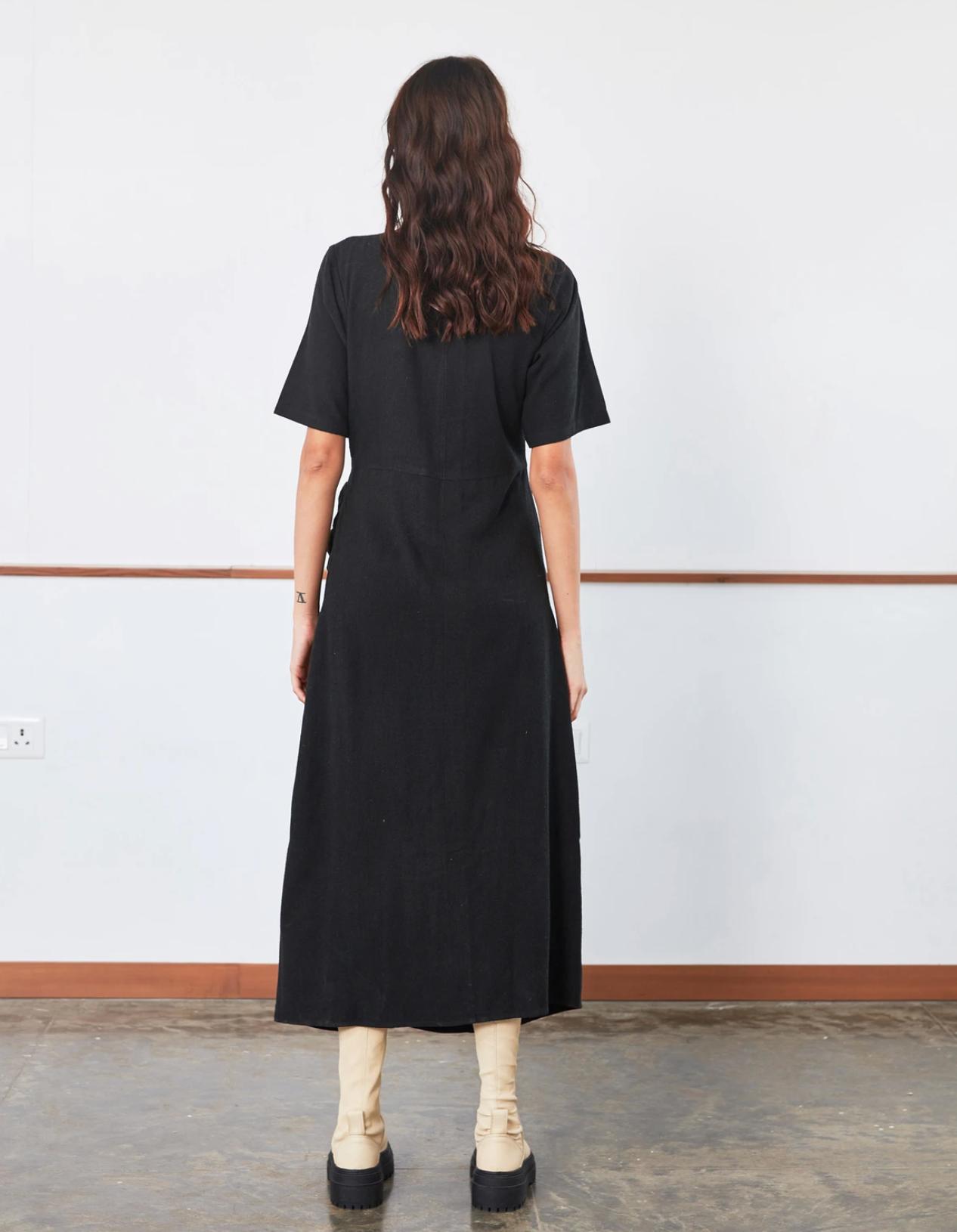 Rujuta Sheth Drawstring Dress, Black
