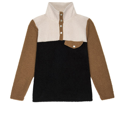 Donni Tri-Mini Sherpa Pullover, Creme, Caramel, Black