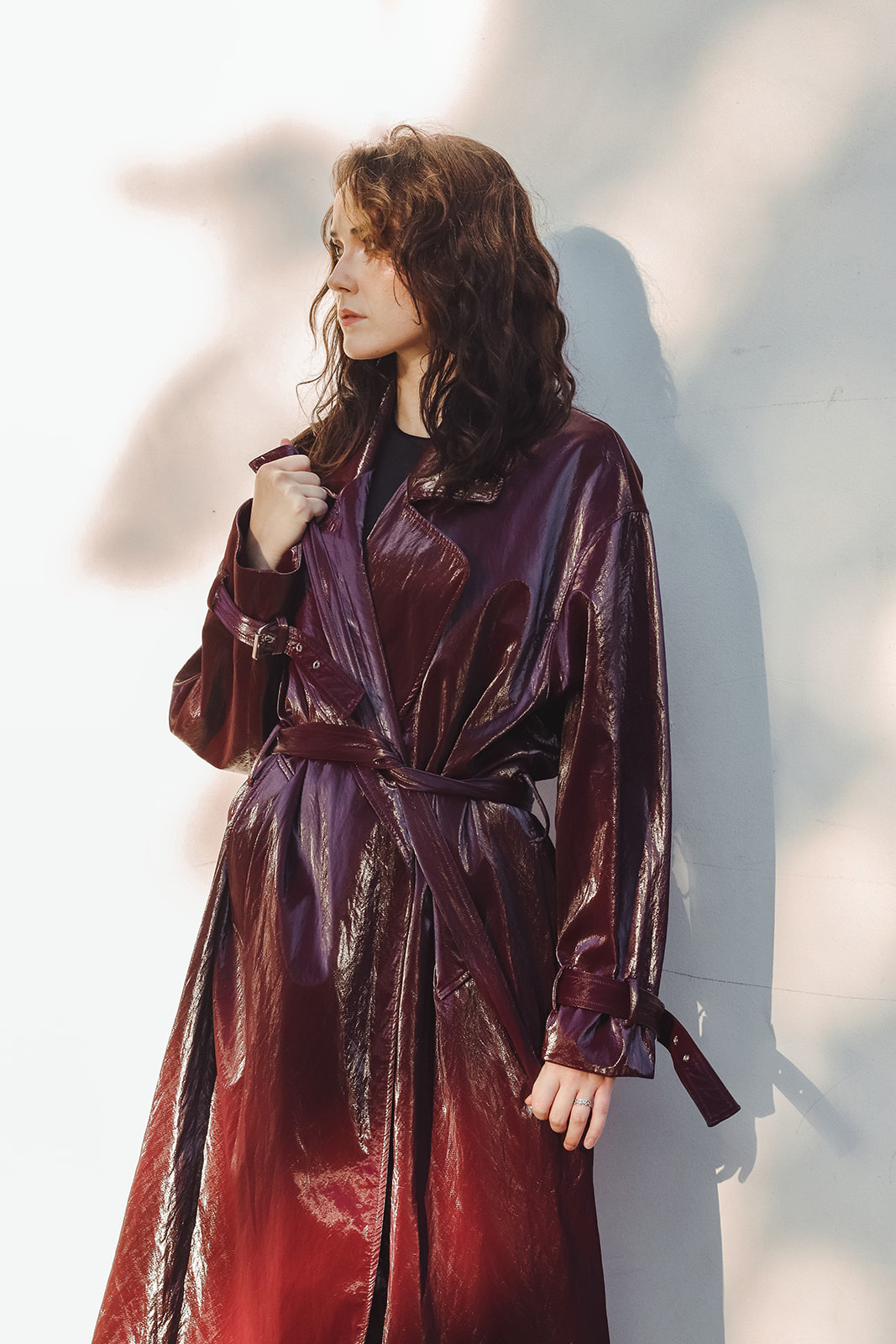 Nomia Shiny Tech Fabric Trench, Burgundy