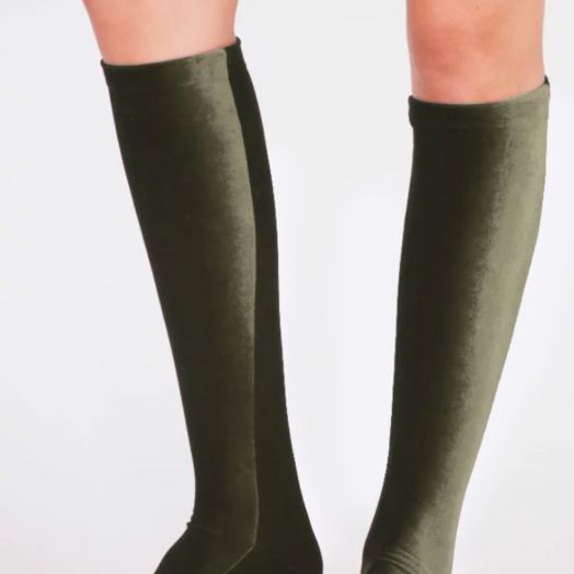Velvet Socks by Simone WIld Olive Green Velvet Knee Socks