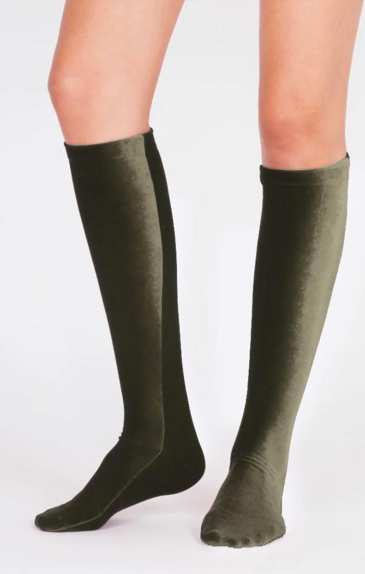 Velvet Socks by Simone WIld Olive Green Velvet Knee Socks