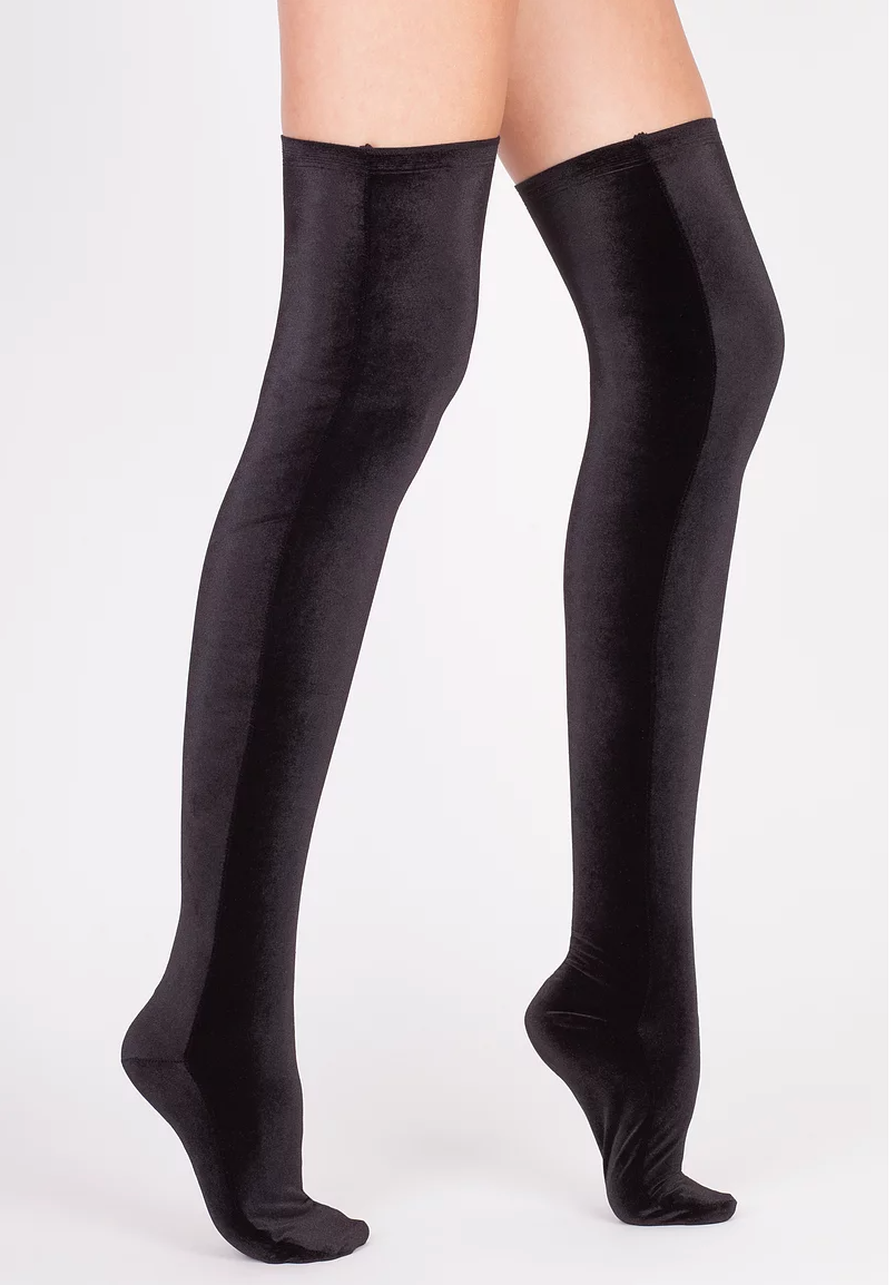 Velvet Socks by Simone WIld Black Velvet Knee Socks