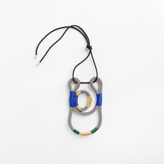 Pichulik Geisha Curve Necklace White Zig Zag Blue