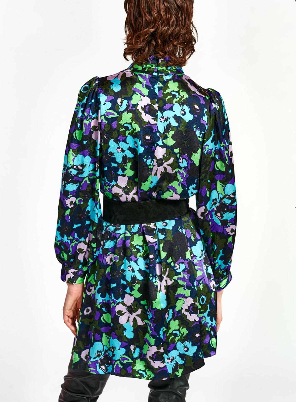 Essentiel Antwerp Wengling High Collar Tie Dress, Combo Polo Green