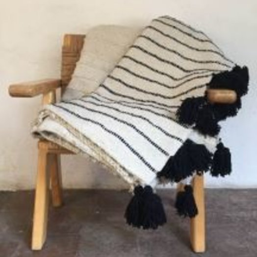 Mexchic Rayas Feliz Blanket Black on Cream Queen Size
