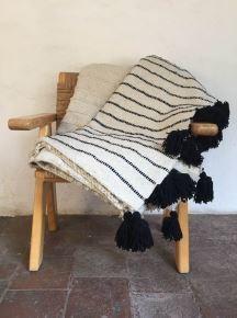 Mexchic Rayas Feliz Blanket Black on Cream Queen Size