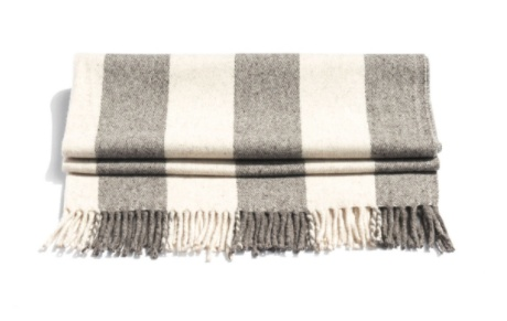 Mexchic Virgin Wool Traditional Mexican Blanket Cream and Grey Chunky Stripe BIG SUR