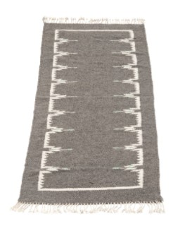 Mexchic Flat Weave Rug with Fringe Hand Woven in Plush Wool, Grey Cream and Mint, Nuri