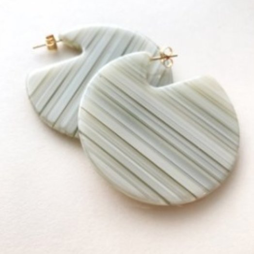 Machete Clare Earrings in Vert Stripe