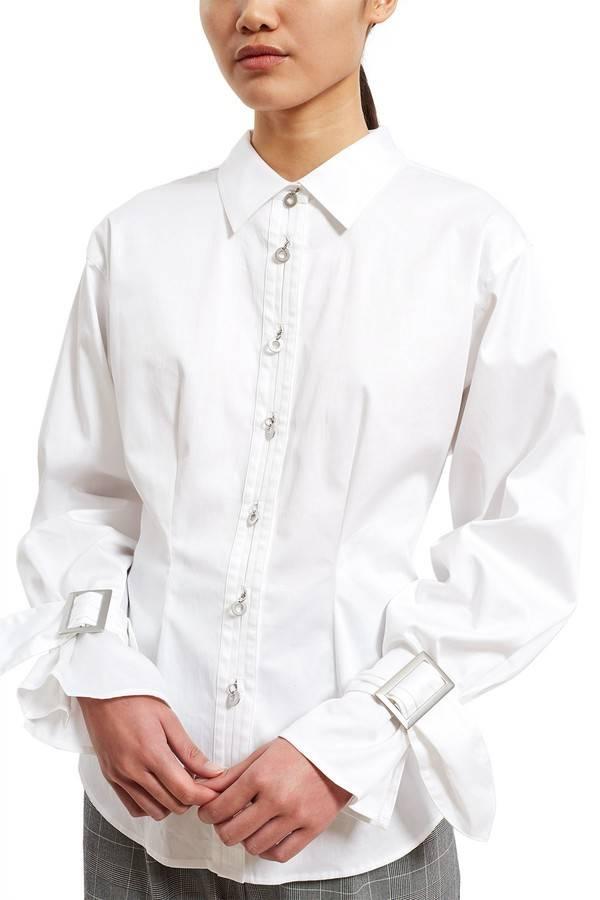 Opening Ceremony Sateen Belt Cuff Shirt