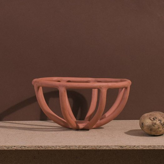 Virginia Sin Prong Fruit Bowl Terracotta Small