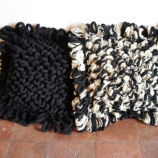 Mexchic Textured Loop Throw Floor Pillow, Hand Woven Cream and Black Virgin Wool PALOMITA