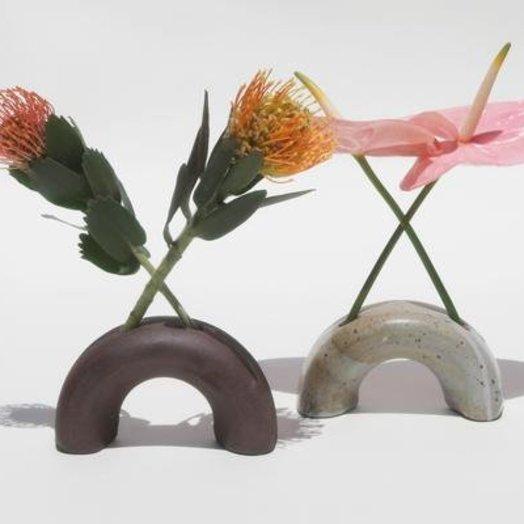 Lucy Michel Ceramics Arch Vase Speckled White